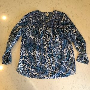 J Crew Blue Flower Tunic with Embroidery Sz S